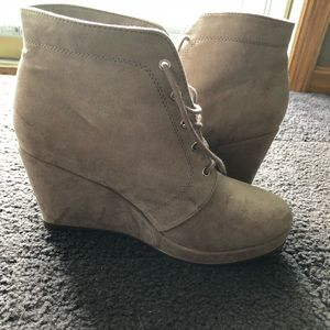 Tan wedge booties